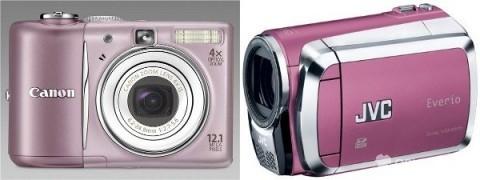 Růžový fotoaparát a kamera