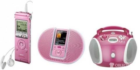Růžový diktafon a rádio