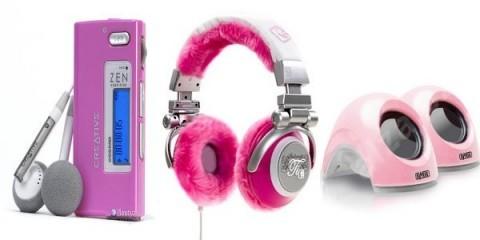 Růžová mp3, sluchátka a reproduktory