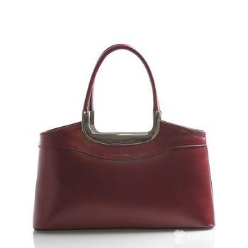35b4383e27 Červená kožená kabelka do ruky ItalY Stefanie